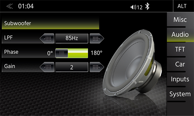 Subwoofer audio setup menu